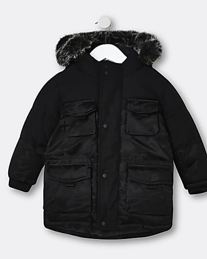 Mini boys black camo print parka coat