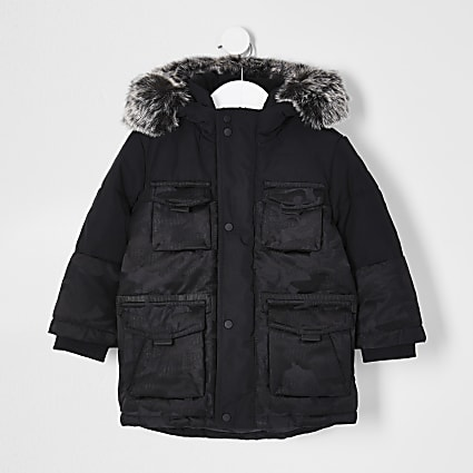Mini boys black camo print parka jacket