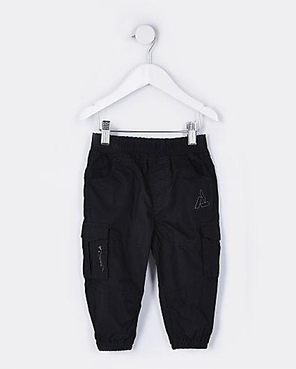 Mini boys black cargo trousers