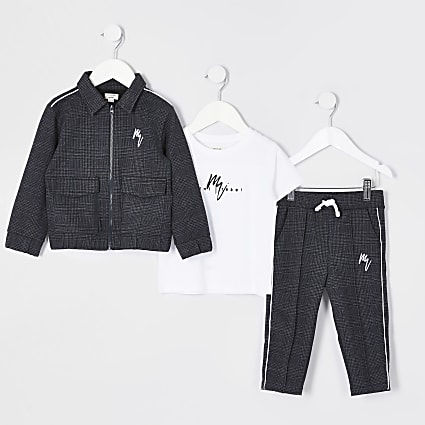 Mini boys black check 3 piece outfit