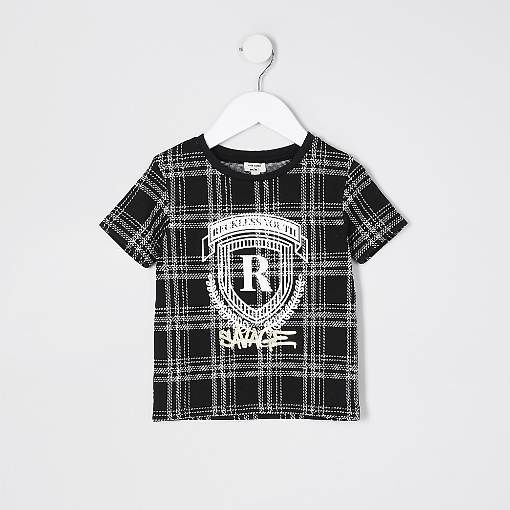 Mini boys black check foil print t-shirt
