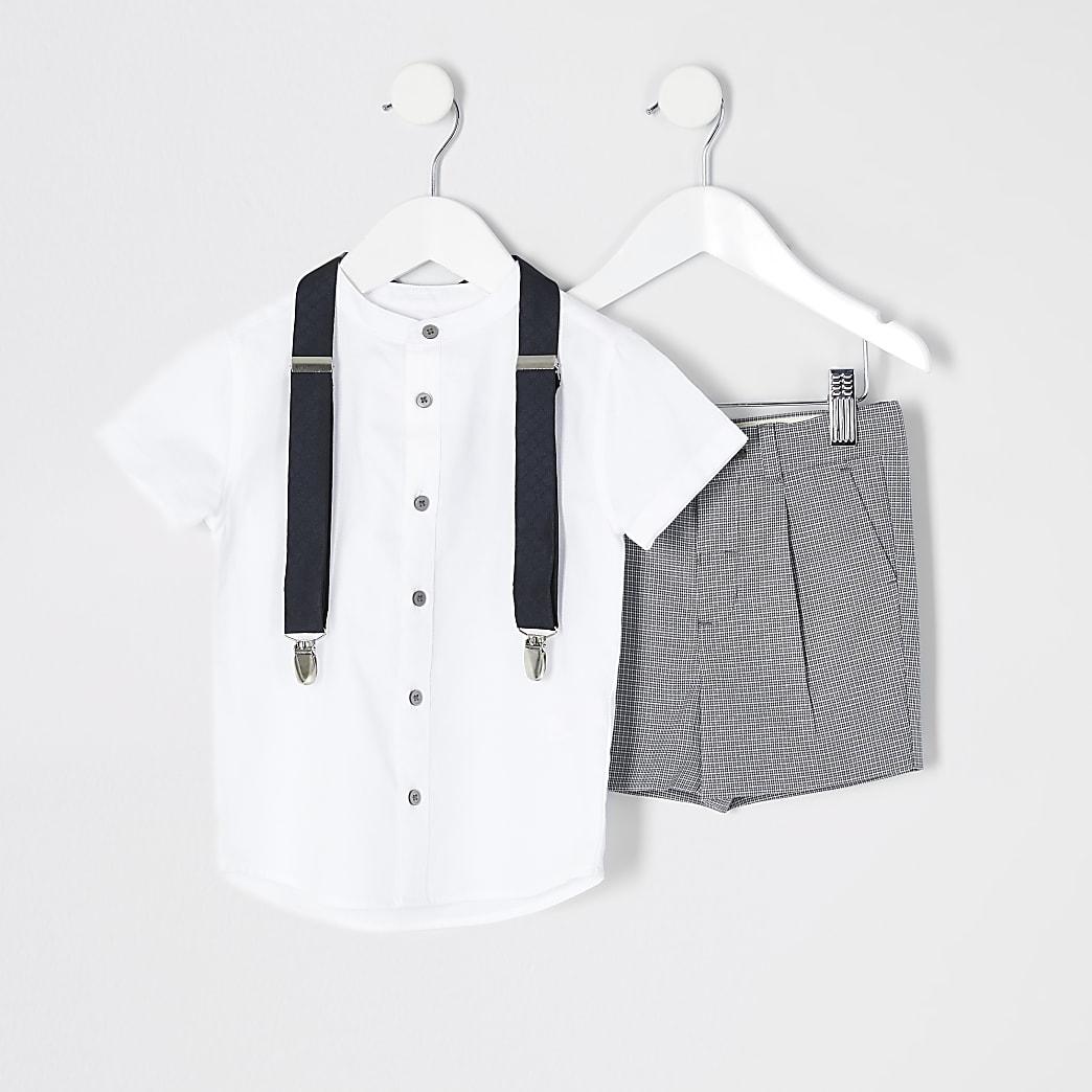 Mini - Zwart geruit overhemd zonder kraag kostuumset voor jongens