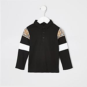 Mini - Zwart geruit poloshirt met lange mouwen voor jongens