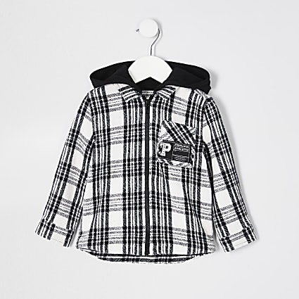 Mini boys black check print shacket