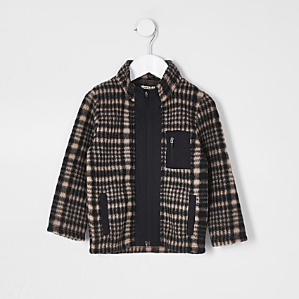 Mini boys black checked funnel neck fleece