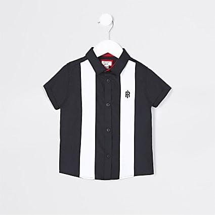 Mini boys black colour block bowling shirt
