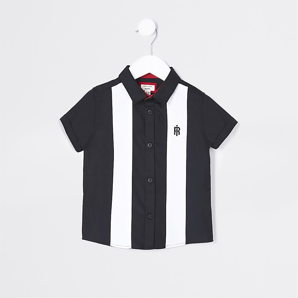 Mini boys black colour block bowling shirt