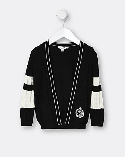 Mini boys black colour block cardigan