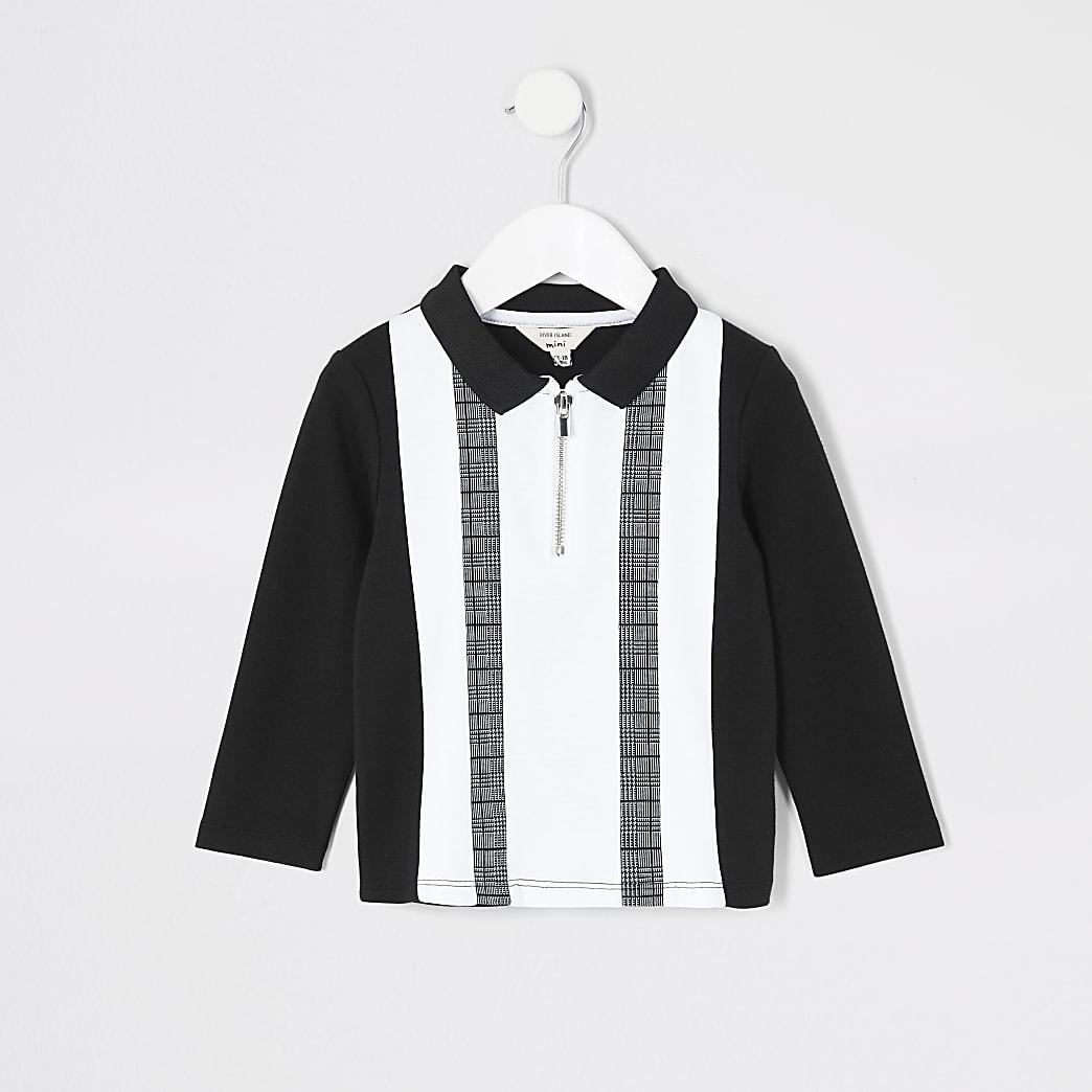 Mini - Zwart poloshirt met kleurvlak voor jongens