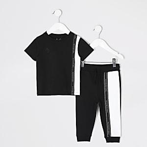 Mini – Schwarzes T-Shirt-Outfit in Blockfarben