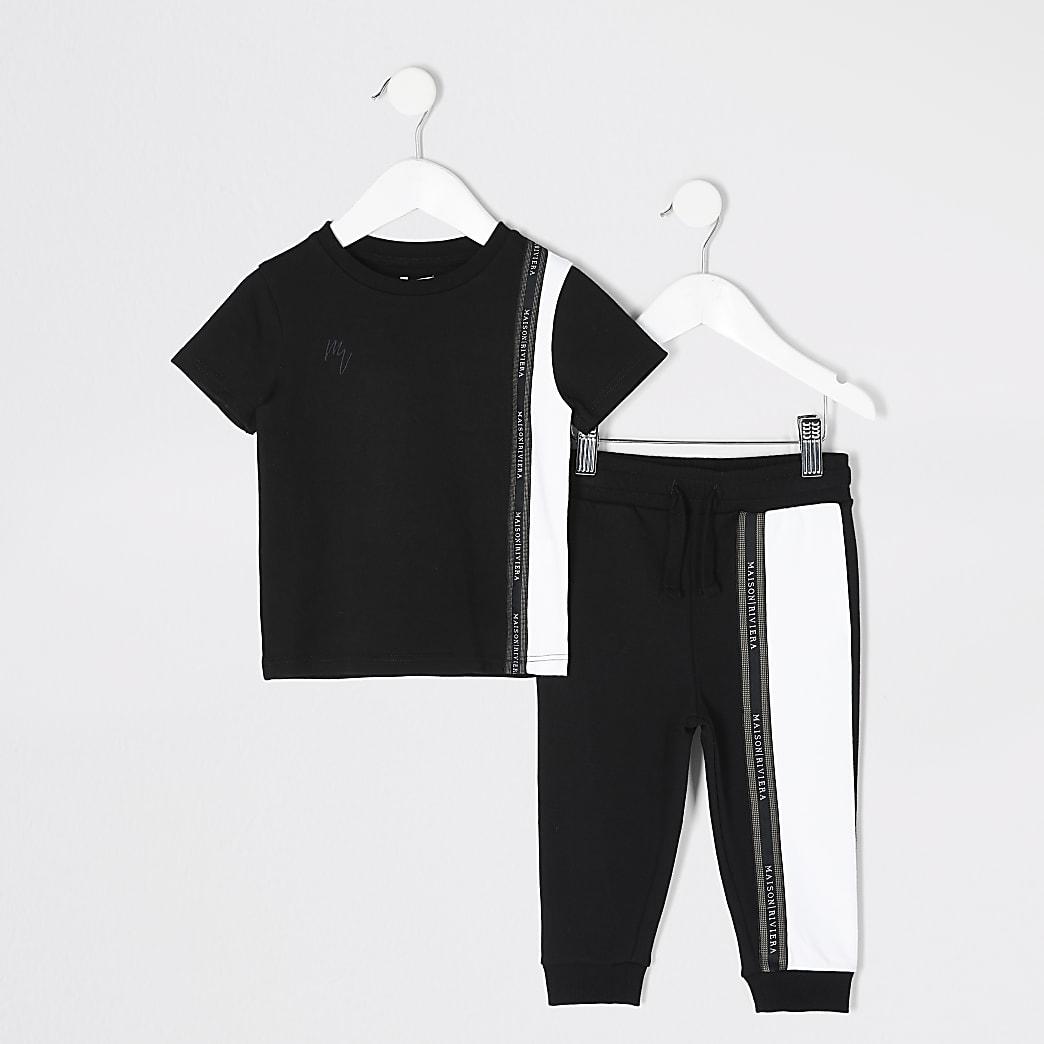 Mini boys black colour blocked T-shirt outfit
