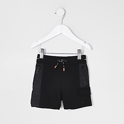 mini boys black contrast blocked shorts