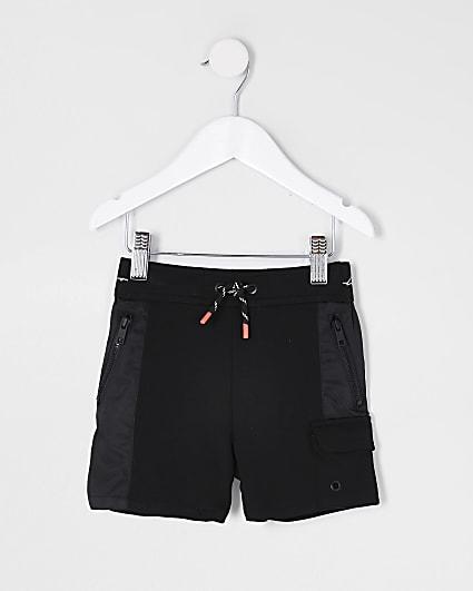 mini boys black contrast blocked shorts