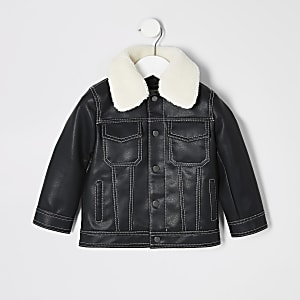 Mini – Schwarze Jacke mit Kontrastnaht für Jungen