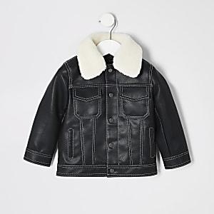Mini - Zwart jack met contrasterend stiksel voor jongens