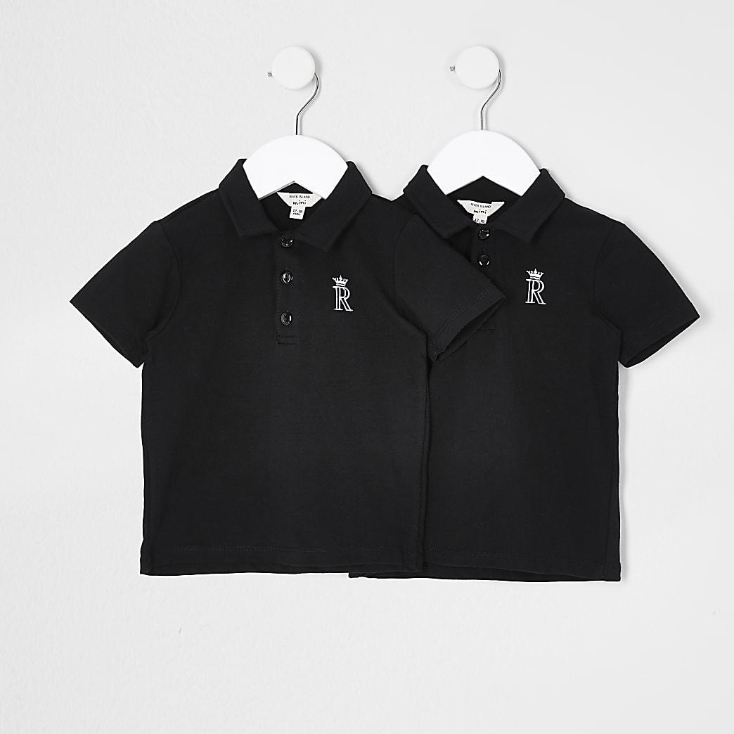 Mini boys black crown 2 pack polos