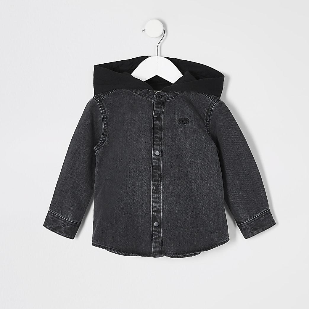 Mini boys black denim hoodied shacket