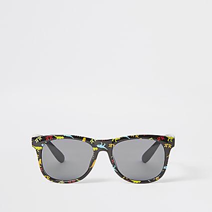 Mini boys black dinosaur retro sunglasses
