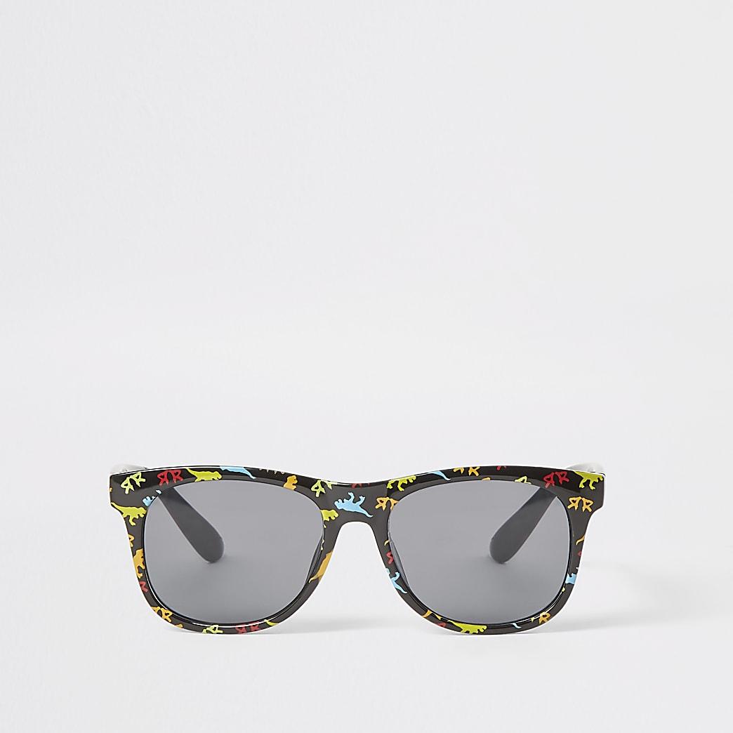 Mini - Zwarte retro zonnebril met dinosaurusprint voor jongens