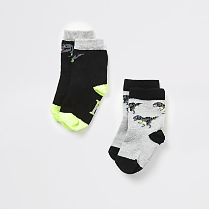 Mini boys black dinosaur socks 2 pack