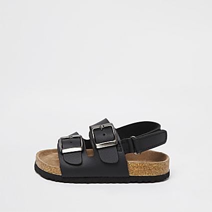 Mini boys black double strap sandals