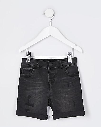 Mini boys black Dylan denim shorts
