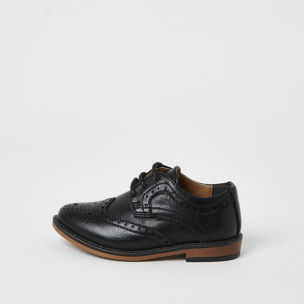 Mini - Zwarte brogue schoenen met reliëf voor jongens