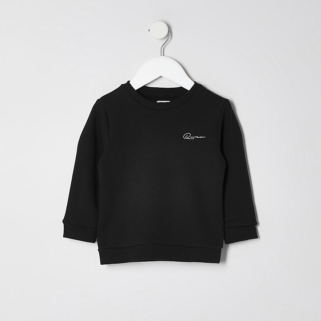 Mini boys black embroidered sweatshirt