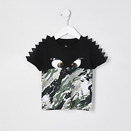 Mini boys black eyes print t-shirt