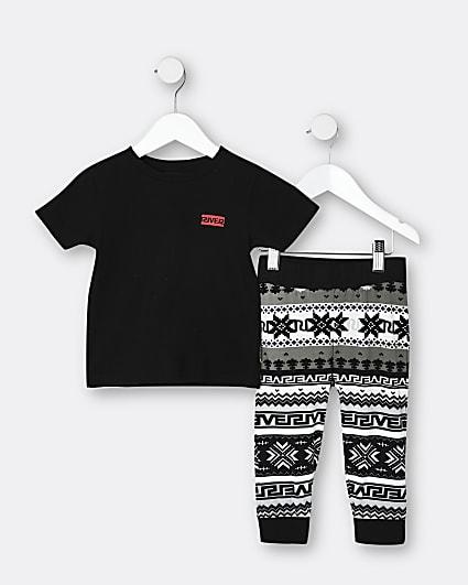 Mini boys black fairisle pyjama set
