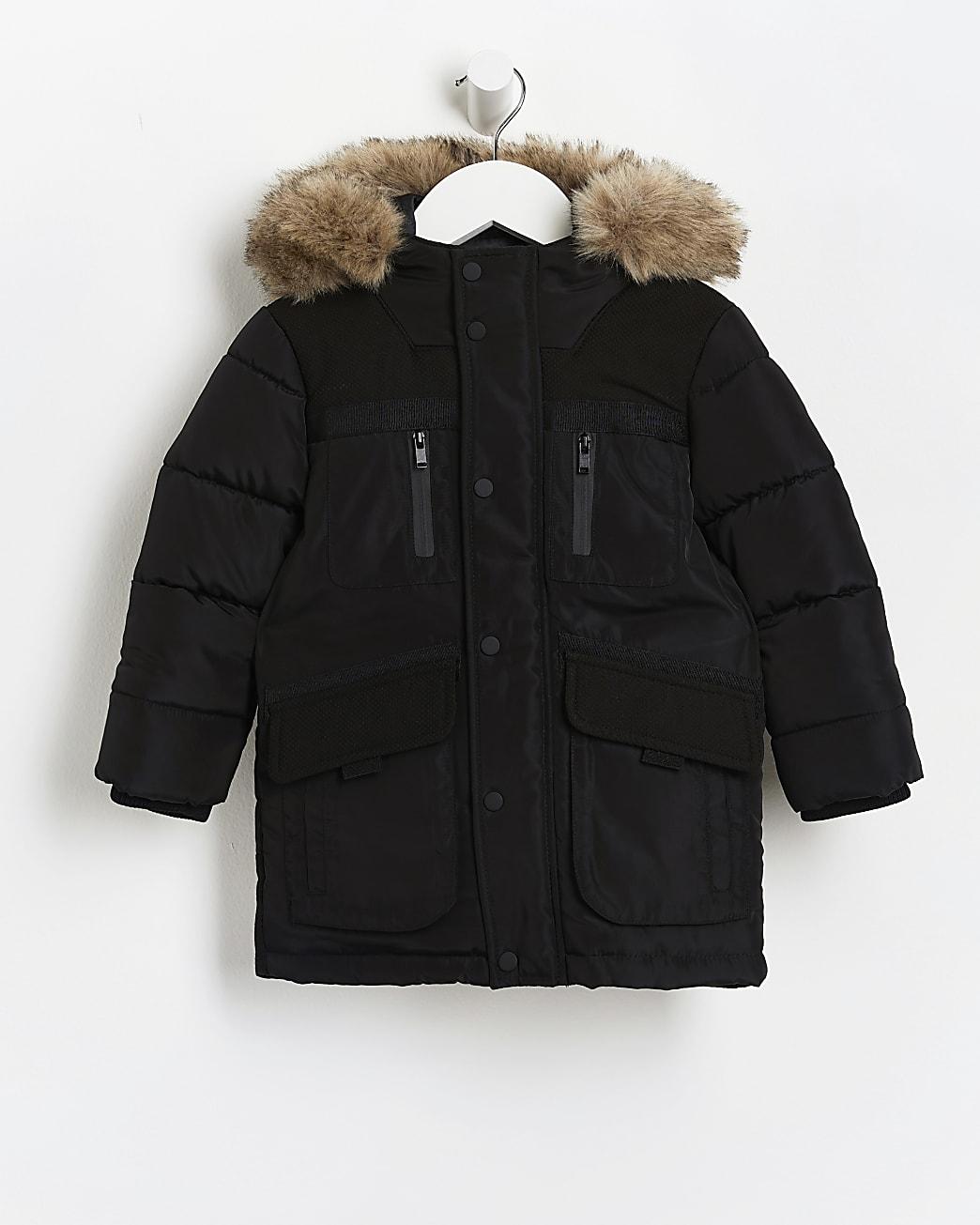 Mini boys black faux fur hooded parka coat