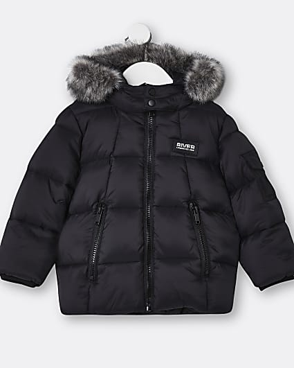 Mini boys black faux fur hooded puffer coat