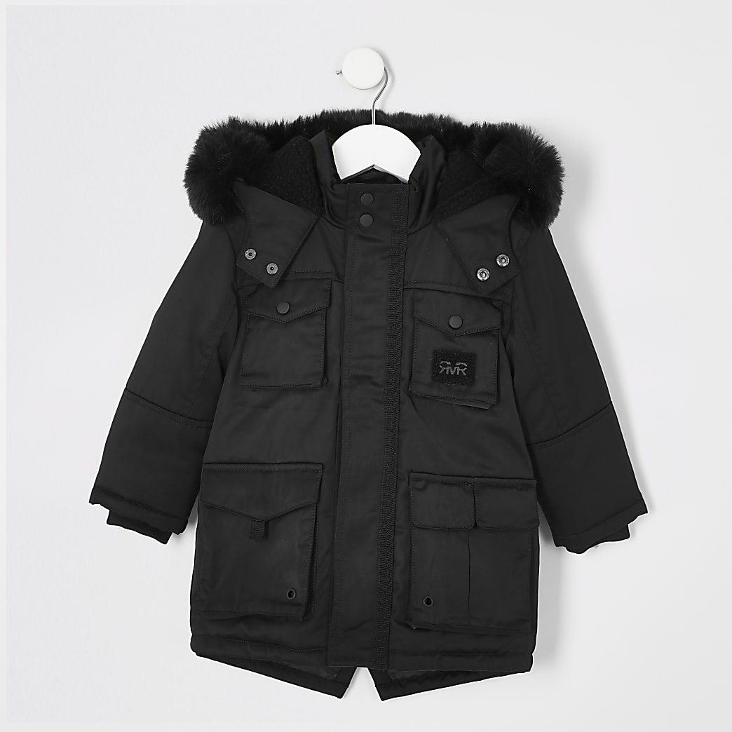 Mini boys black faux fur hooded utility parka