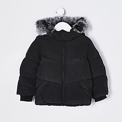 Mini boys black faux fur padded coat