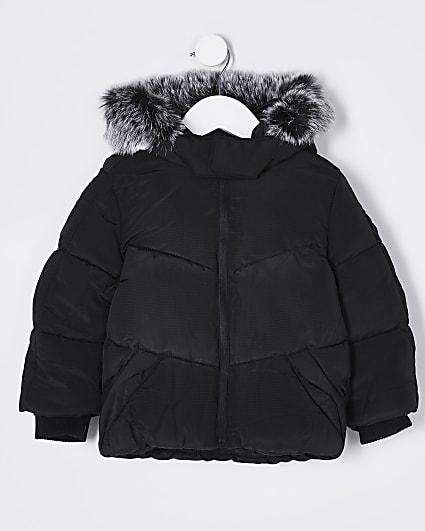 Mini boys black faux fur padded coat