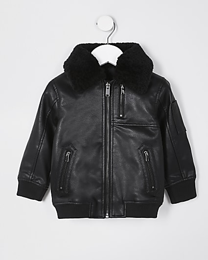 Mini boys black faux leather bomber jacket