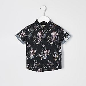 Mini - Zwart overhemd met bloemenprint en korte mouwen voor jongens