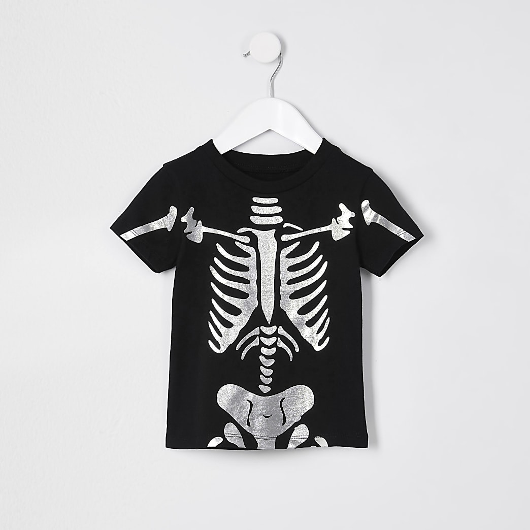 Mini boys black foil print skeleton t-shirt