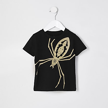 Mini boys black foil print spider t-shirt
