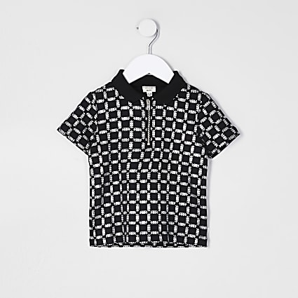 Mini boys black foil printed polo shirt