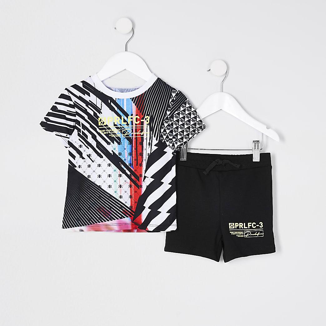 Mini boys black gamer t-shirt set