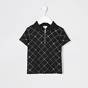 Mini - Zwart poloshirt met rits en gouden RI-logo voor jongens