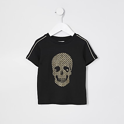 Mini boys black gold tone foil skull t-shirt