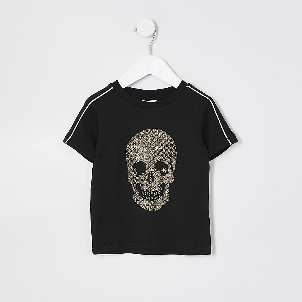 Mini boys black gold tone foil skull t-shirt