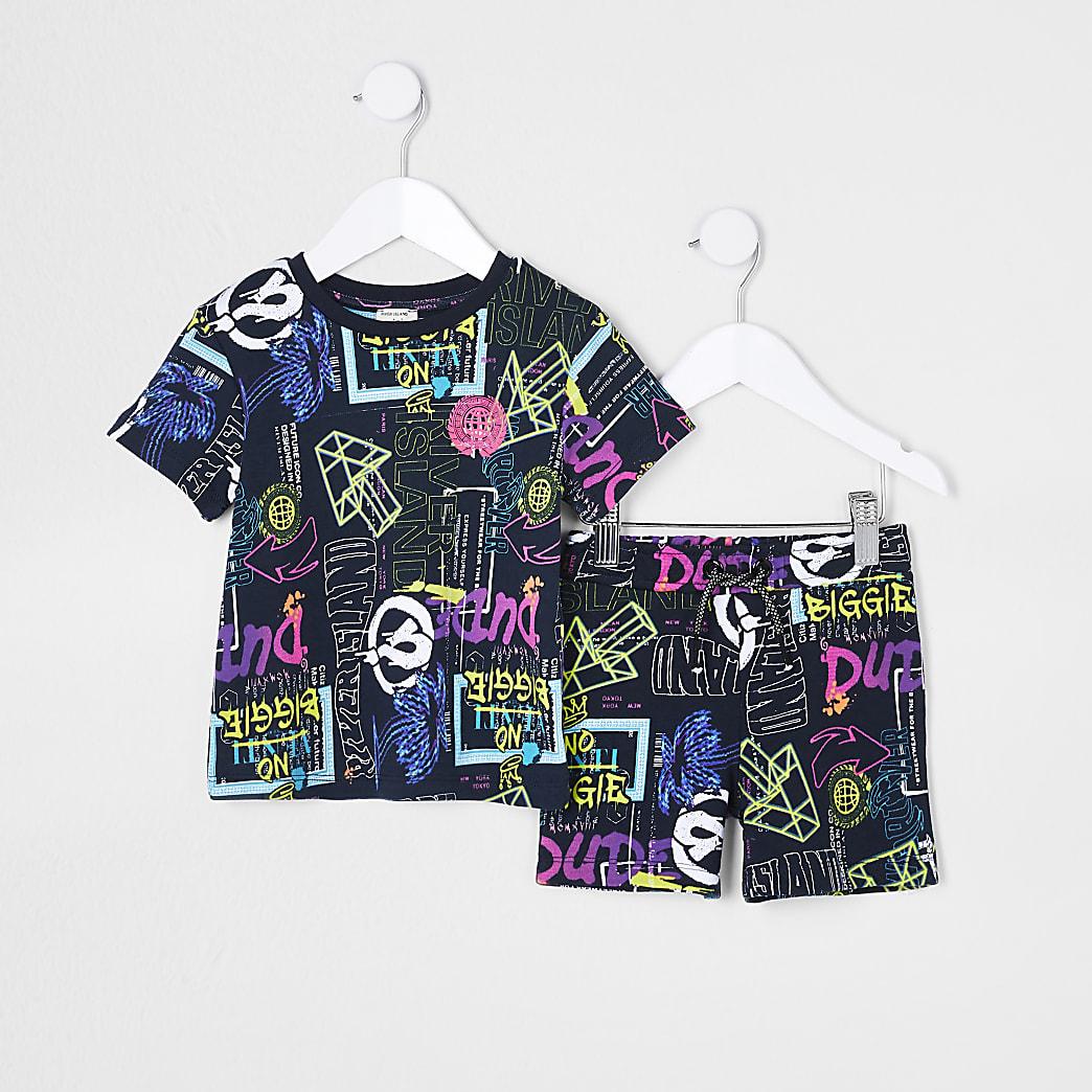 Mini boys black graffiti shorts outfit