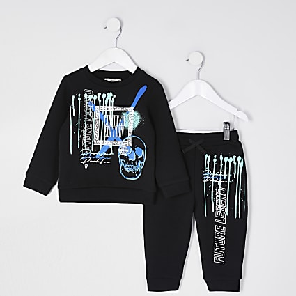 Mini boys black graffiti sweatshirt outfit