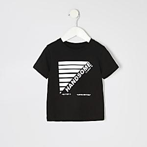 Mini - Zwart T-shirt met 'Handsome'-tekst voor jongens