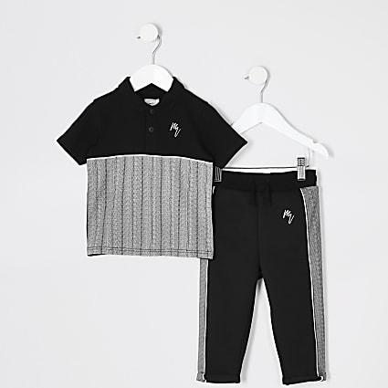 Mini boys black herringbone polo shirt outfit