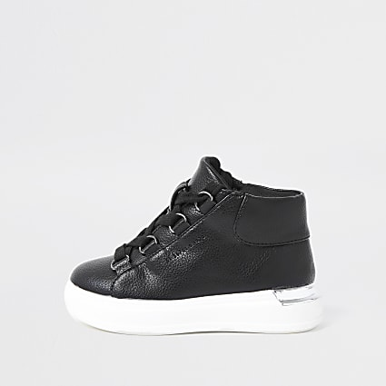 Mini boys black high top trainers