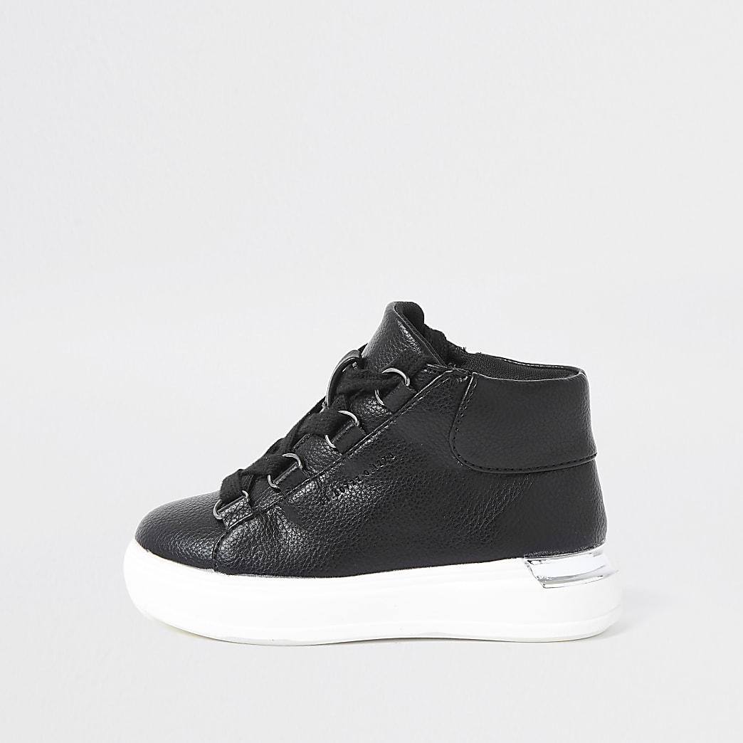 Mini boys black high top trainers
